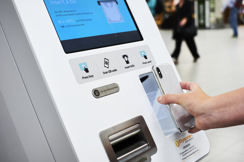 Närbild på Bitcoin-Bankomaten