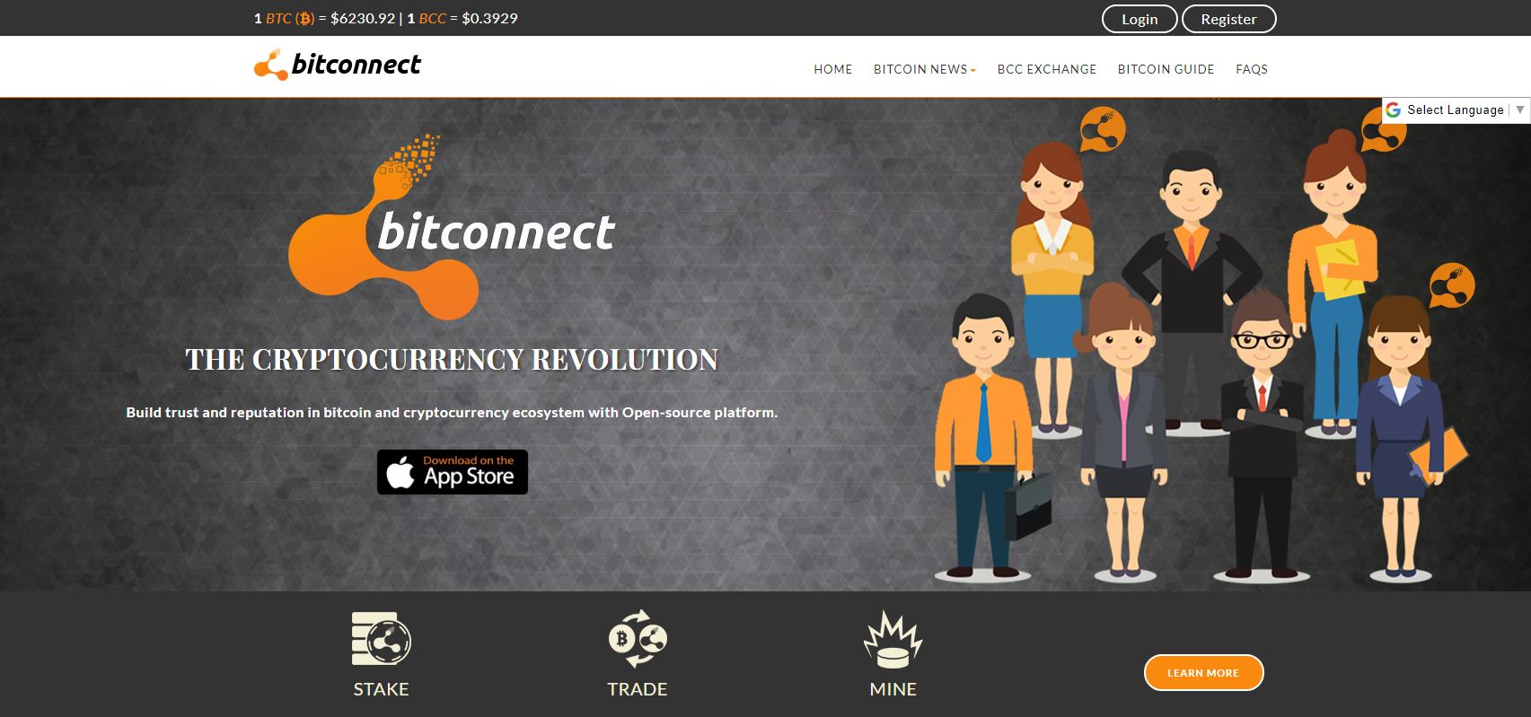 Screenshot av Bitconnect.co