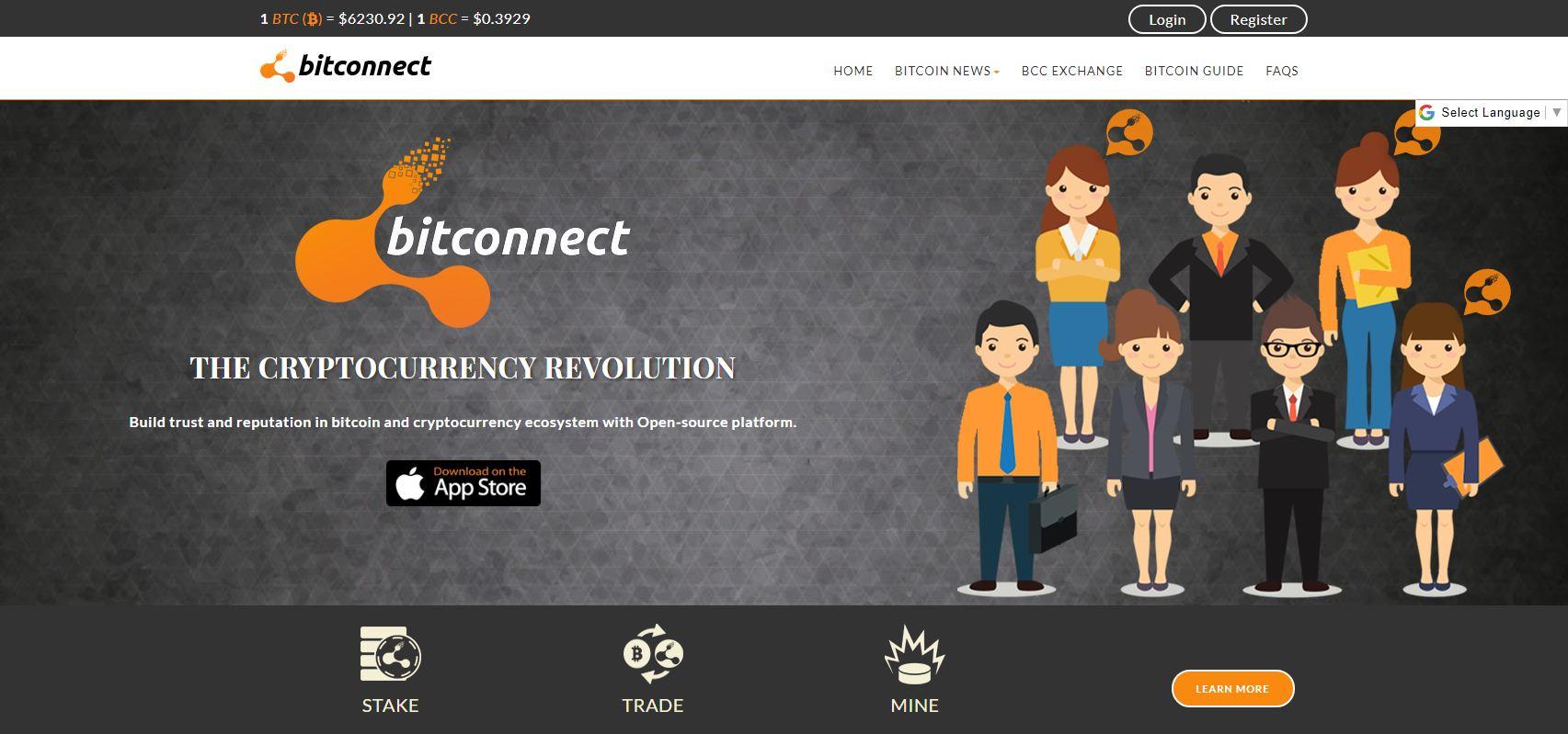 Screenshot av Bitconnect.co